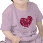 Primeros corazones Camo rosado conocido de encargo Camiseta