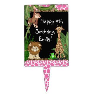 Primeros de la torta de cumpleaños del safari de figura para tarta