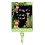 Primeros de la torta de cumpleaños del safari de s figuras para tartas