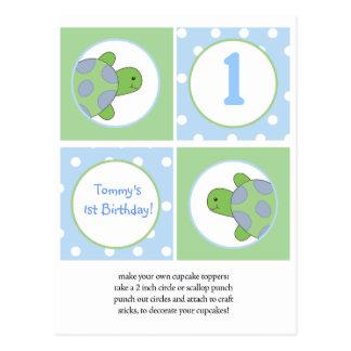 Primeros felices de la magdalena de las tortugas d tarjetas postales