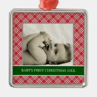 Primeros ornamentos del día de fiesta de la foto adorno navideño cuadrado de metal