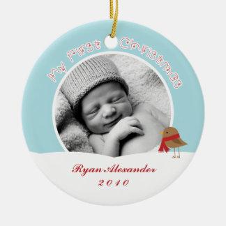 Primeros ornamentos del navidad del bebé adorno redondo de cerámica