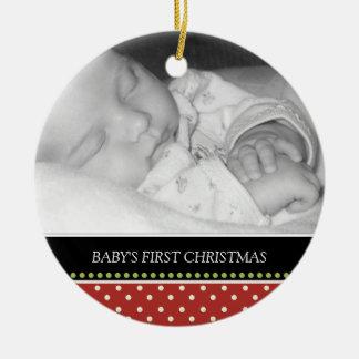 Primeros ornamentos del recuerdo del navidad del adorno navideño redondo de cerámica