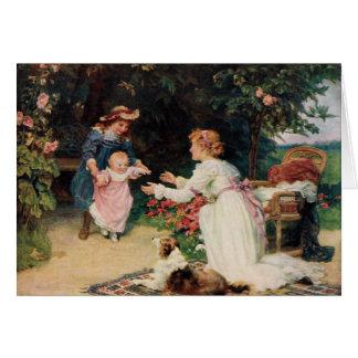 Primeros pasos, 1910, por Fred Morgan (1847-1927) Tarjeta De Felicitación
