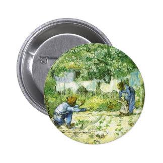 Primeros pasos, Vincent van Gogh 1890. Pin Redondo De 2 Pulgadas