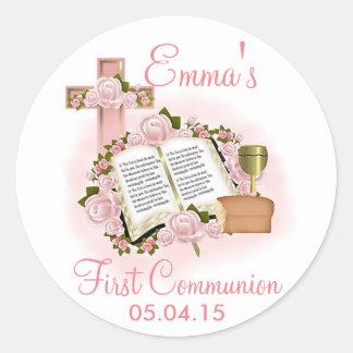 Primeros pegatinas de la comunión de la biblia - pegatina redonda