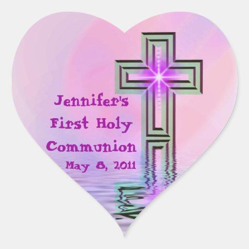 Primeros pegatinas de la comunión santa pegatina de corazón