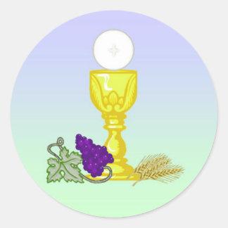 Primeros pegatinas de la comunión santa pegatina redonda