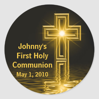 Primeros pegatinas de la comunión santa de Johnny Etiquetas Redondas