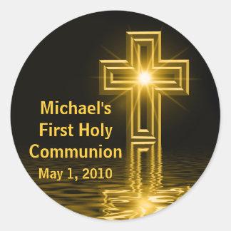 Primeros pegatinas de la comunión santa de Michael Etiqueta Redonda