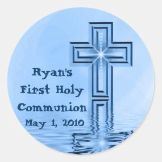 Primeros pegatinas de la comunión santa de Ryan Pegatina Redonda