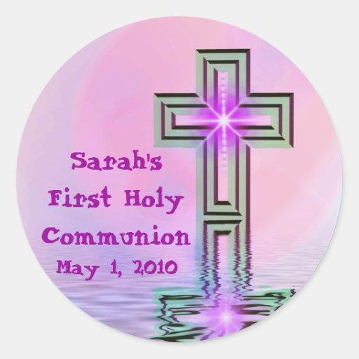 Primeros pegatinas de la comunión santa de Sarah Etiqueta Redonda