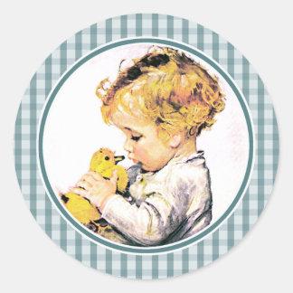 Primeros pegatinas del regalo de Pascua del bebé Pegatina Redonda