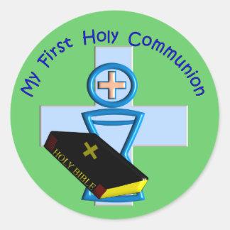 Primeros regalos de la comunión santa para los pegatina redonda