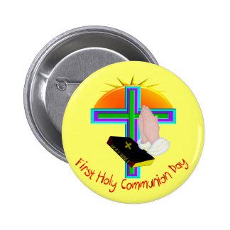 Primeros regalos del día de la comunión santa pin redondo de 2 pulgadas