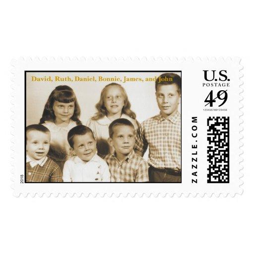 Primeros seis niños del portero, David, Ruth, Sello Postal