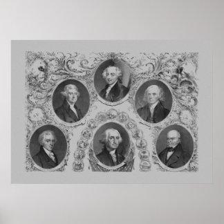 Primeros seis presidentes de los E E U U Posters