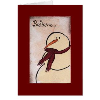 Primitive Acrylic Painted Snowman Christmas Card