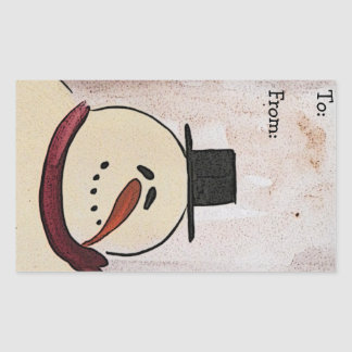 Primitive Acrylic Painted Snowman Christmas Tag Rectangular Sticker