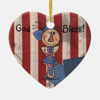 Primitive American Angel Ceramic Ornament