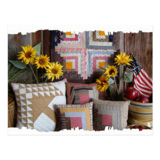 Primitive Americana Antique Quilt Postcard