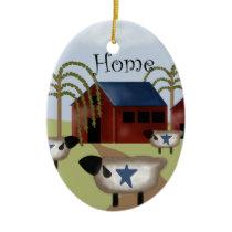 Primitive Americana Barn and Sheep Ceramic Ornament
