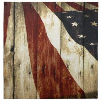 Primitive Americana woodgrain American Flag Napkin