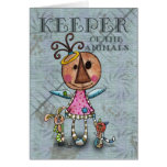 Primitive Angel Keeper of the Animals Greeting Card