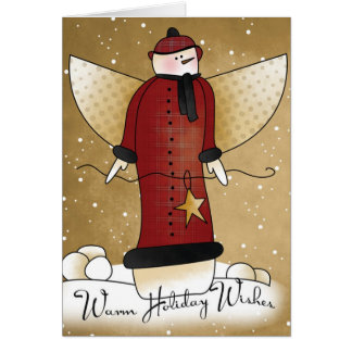 Primitive Angel Snowman with Star Christmas Card