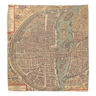 Primitive Antique Map of Paris France Bandana