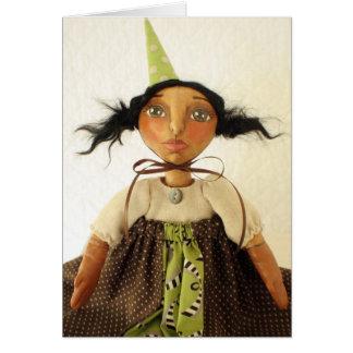 Primitive Art Doll Party Girl Birthday Card