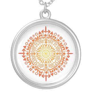 Primitive art-Sun custom silver pendant