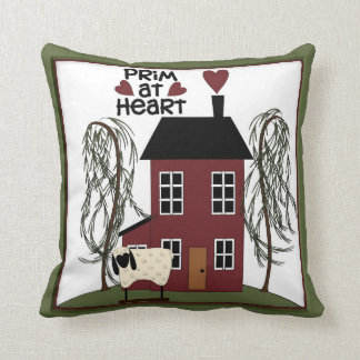 Primitive at Heart Country Sheep & House Decor Throw Pillow