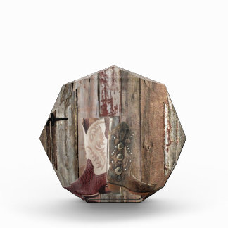 Primitive barn wood country Western Cowboy Boot Acrylic Award
