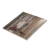 Primitive barn wood country Western Cowboy Boot Ceramic Tile