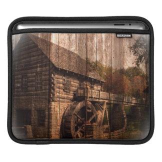 Primitive Barn Wood farmhouse mill water wheel iPad Sleeve