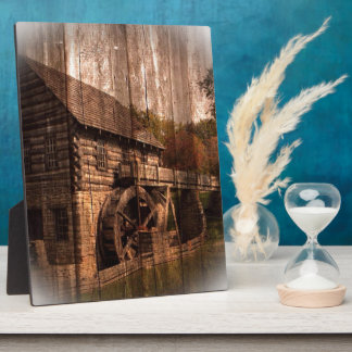 Primitive Barn Wood farmhouse mill water wheel Plaque