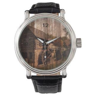 Primitive Barn Wood farmhouse mill water wheel Wrist Watch