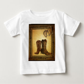 Primitive Barn Wood western country cowboy boots Baby T-Shirt