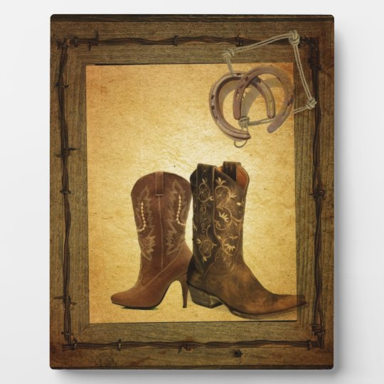 Primitive Barn Wood western country cowboy boots Plaque