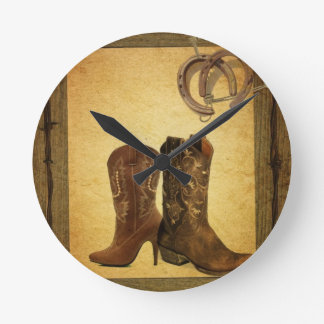 Primitive Barn Wood western country cowboy boots Round Clock