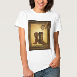 Primitive Barn Wood western country cowboy boots T-Shirt