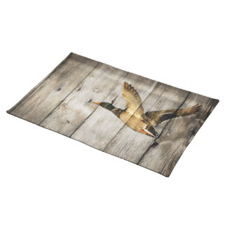 Primitive Barn wood Western Country mallard duck Cloth Placemat