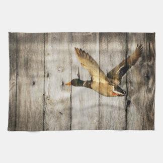 Primitive Barn wood Western Country mallard duck Hand Towel