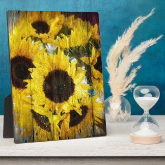 Primitive Barn Wood Western Country Sunflower Plaque