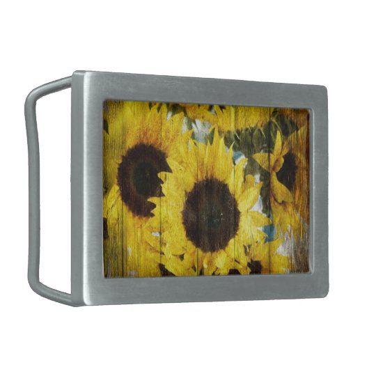 Primitive Barn Wood Western Country Sunflower Rectangular Belt Buckle