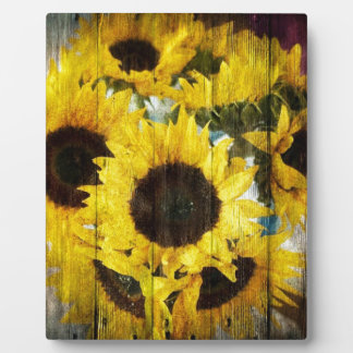 Primitive Barn Wood Western Country Sunflowers Plaque