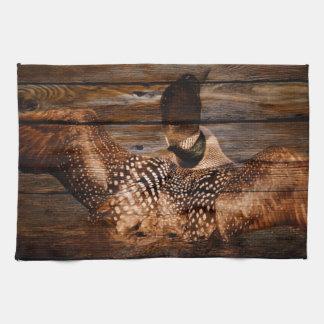 Primitive Barn wood Western Country waterfowl Loon Hand Towel