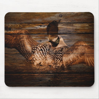 Primitive Barn wood Western Country waterfowl Loon Mouse Pad