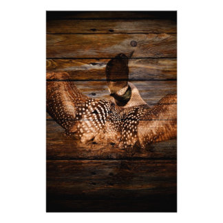 Primitive Barn wood Western Country waterfowl Loon Stationery